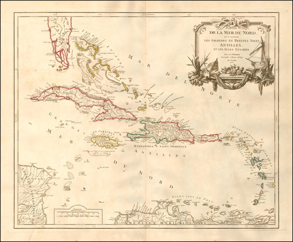Partie De La Mer Du Nord, ou se trouvent Les Grandes Et Petites Antilles, Et Les Isles Lucayes . . .  By Didier Robert de Vaugondy