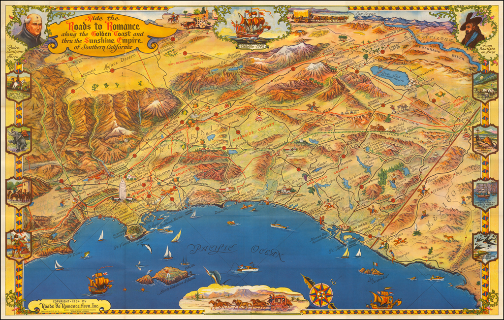 Ride The Roads To Romance along the Golden Coast and thru the Sunshine Empire of Southern California By Roads To Romance Inc.