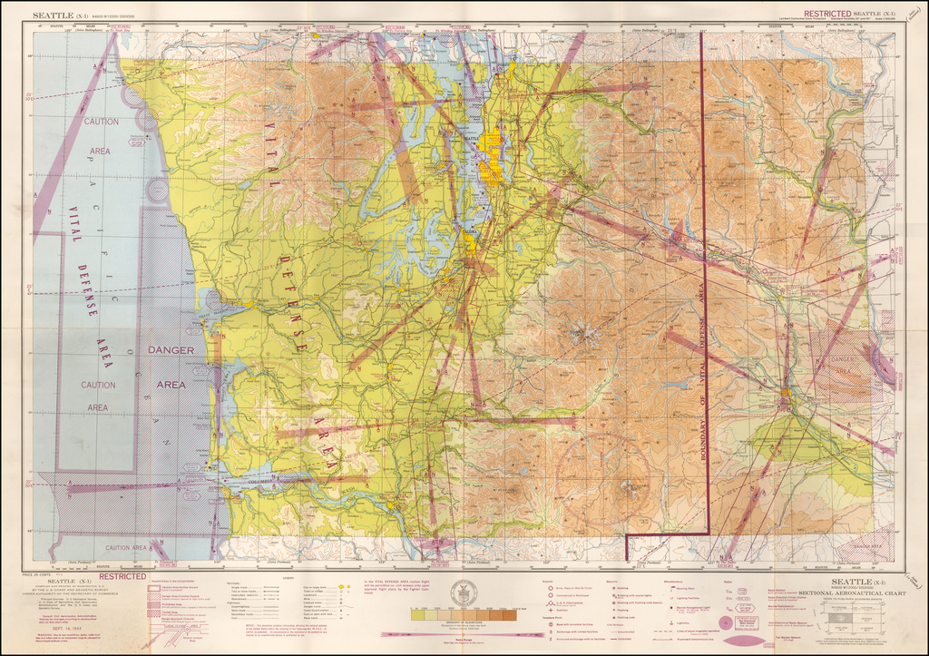 (Restricted) Seattle . . . Sectional Aeronautical Chart  By U.S. Coast & Geodetic Survey