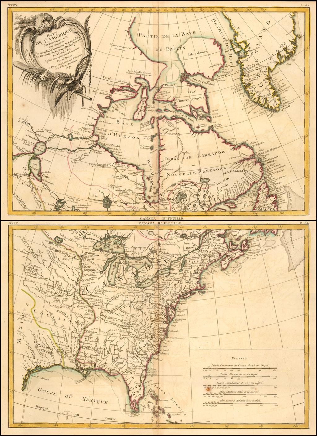 Partie De L'Amerique Septentrionale, qui comprend le Canada, la Louisiane, le Labrador, le Groenland, la Nouvelle Angleterre, la Floride, &c. . . 1771  (North America - 2 sheets) By Rigobert Bonne