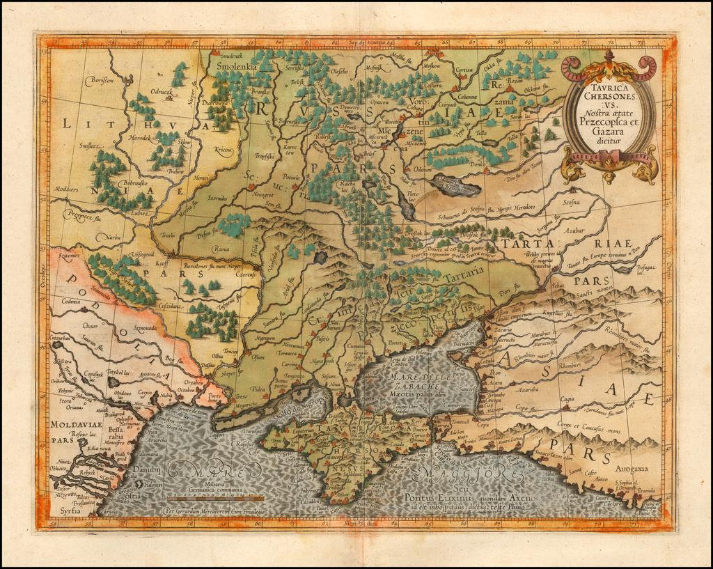 Taurica Chersonesus. Nostra aetate Przecopsca, at Gazara dicitur. By Gerhard Mercator
