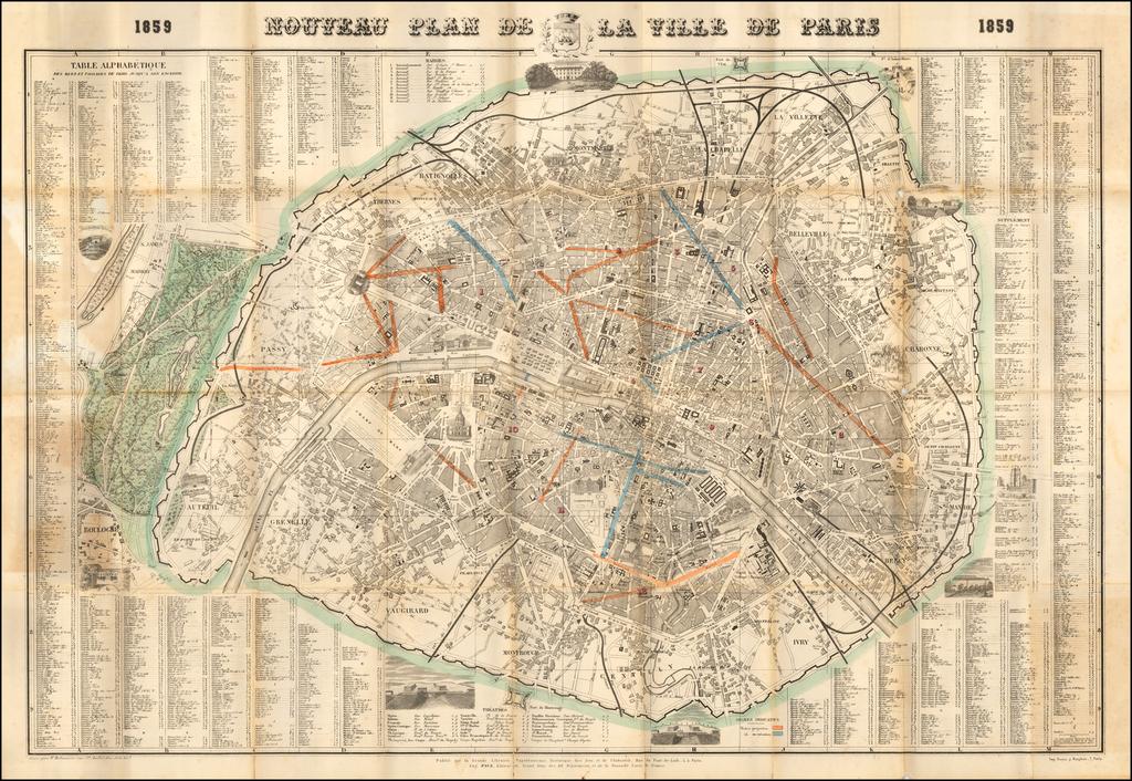 Nouveau Plan de la Ville de Paris 1859. By Eugene Pick