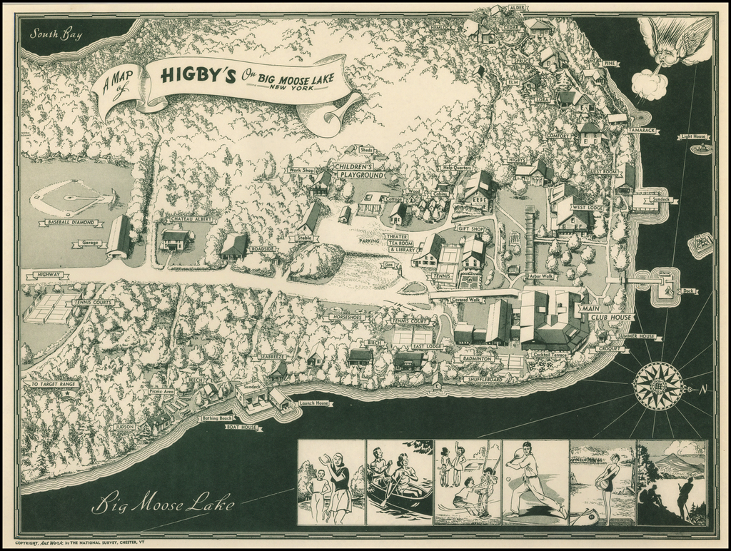 A Map of Higby's On Big Moose Lake New York By The National Survey