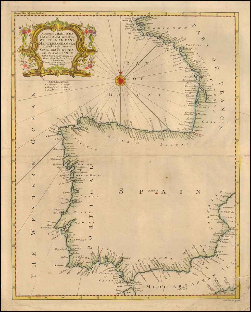 A correct Chart of the Bay of Biscay, Part of the Western Ocean & Mediterranean Sea:  Describing the Coasts of Spain and Portugal . . . From Morlaix to Valencia . . . By Emanuel Bowen