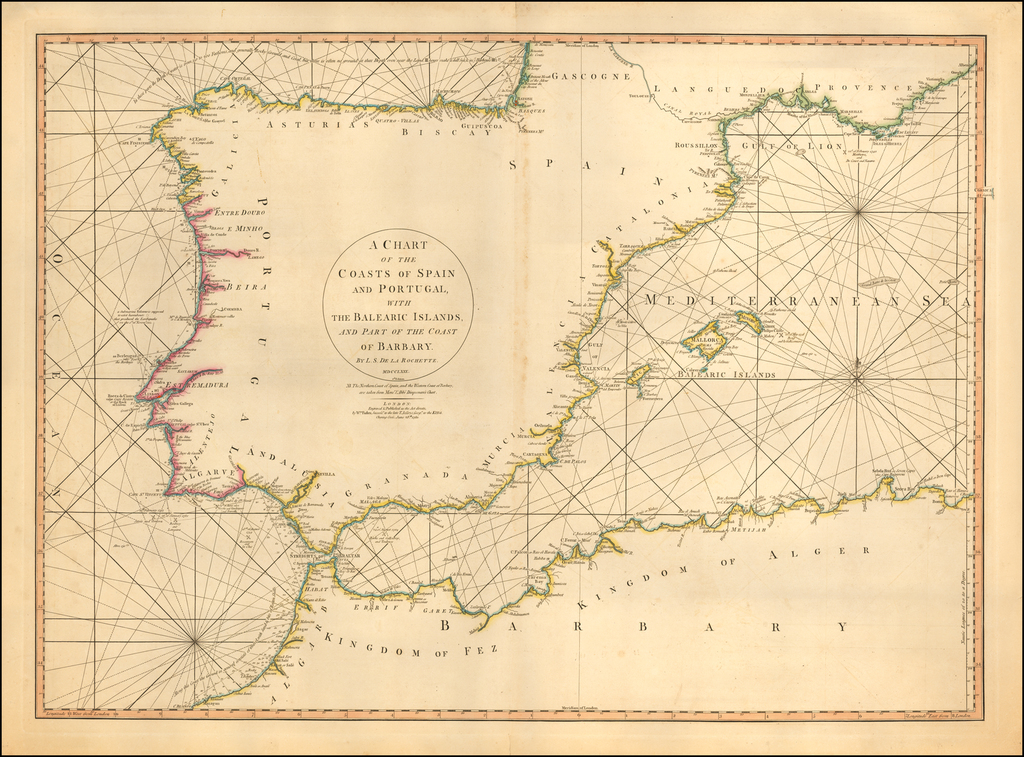 A Chart of the Coasts of Spain and Portugal, with the Balearic Islands, and Part of the Coast of Barbary.  MDCCLXXX.  2d. Edition By William Faden