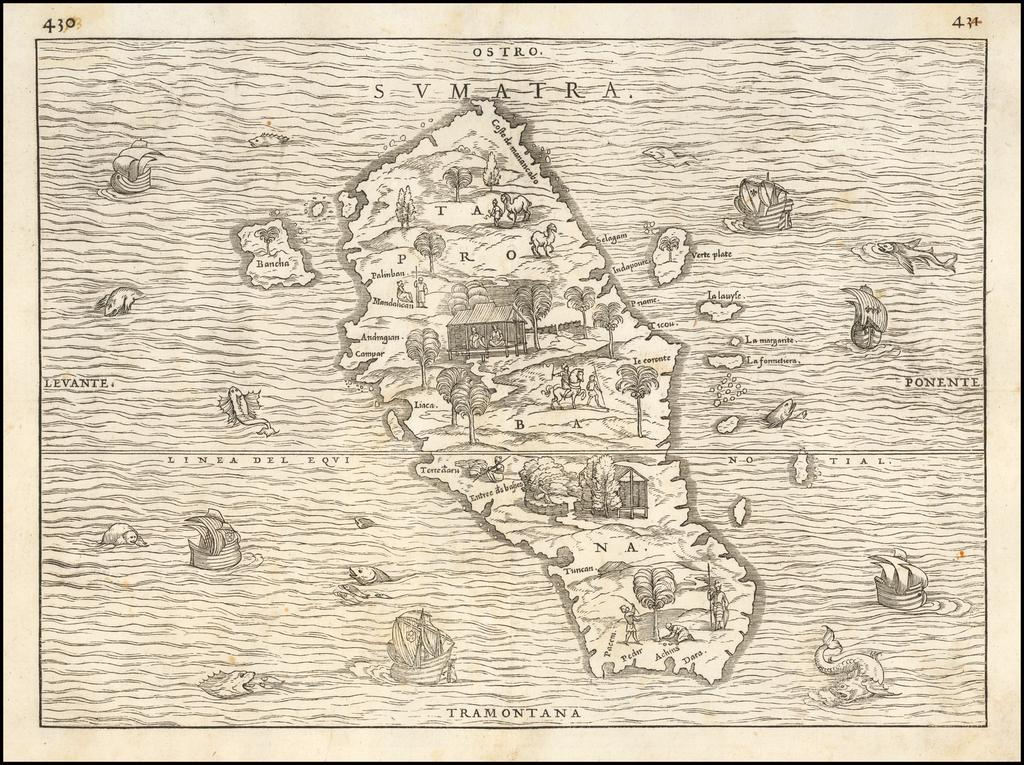 Sumatra / Taprobana By Giovanni Battista Ramusio