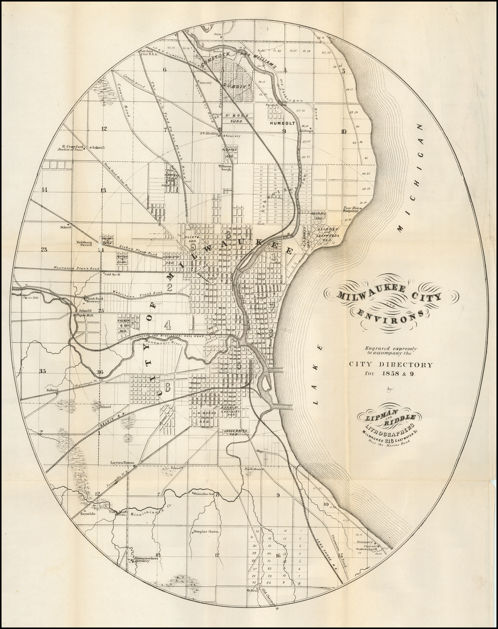 Milwaukee City and Environs Engraved expressly to accompany the City Directory for 1858 & 9. [with:] Milwaukee City Directory. 1858-9. By Lipman & Riddle