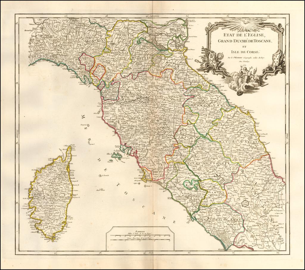 Etat De  L'Eglise, Grand Duche De Toscane, Et Isle De Corse . . . 1750 By Didier Robert de Vaugondy