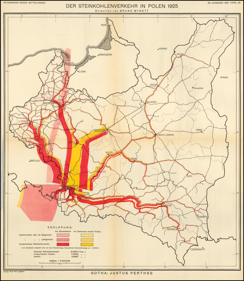 Der Steinkohlenverkehr in Polen 1925  Entworfen von Bruno Mynett  (The Coal Industry in Poland in 1925) By Augustus Herman Petermann