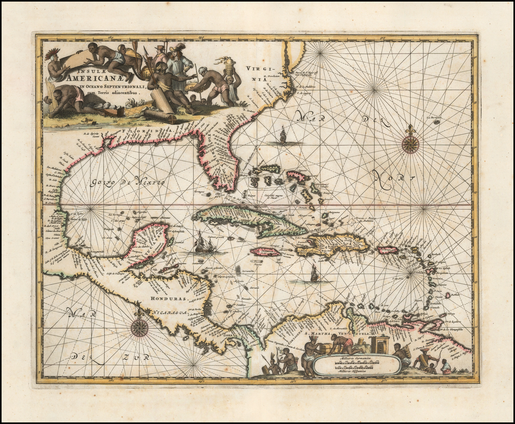 Insulae Americanae in Oceano Septentrionali cum Terris adiacentibus By John Ogilby