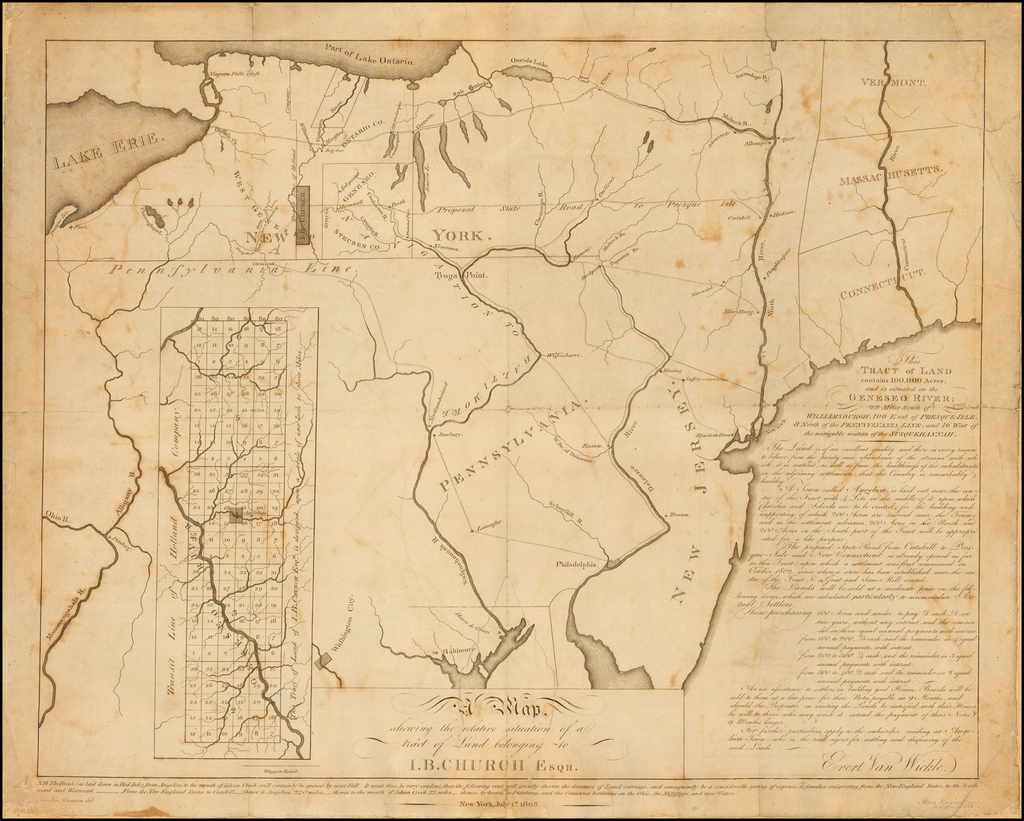 A Map shewing the relative situation of a tract of Land belonging to I.B. Church Esqr.  / .  This Tract of Land contains 100,000 Acres, and is situated on the Geneseo River; 22 Miles South of Williamsburgh, 100 East of Presque-Isle, 8 North of the Pennsylvania Line, and 16 West of the navigable waters of the Susquenhannah . . .  By Peter Maverick / Joseph Francois Mangin