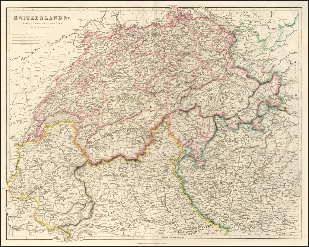 Switzerland &c. and the Passes of the Alps. By Aaron Arrowsmith