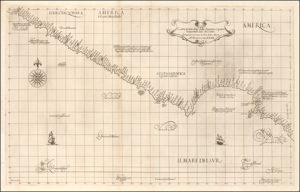 Carta particolare della America e parte maestrale dal C: di Cedros… D'America carta XXXII By Robert Dudley