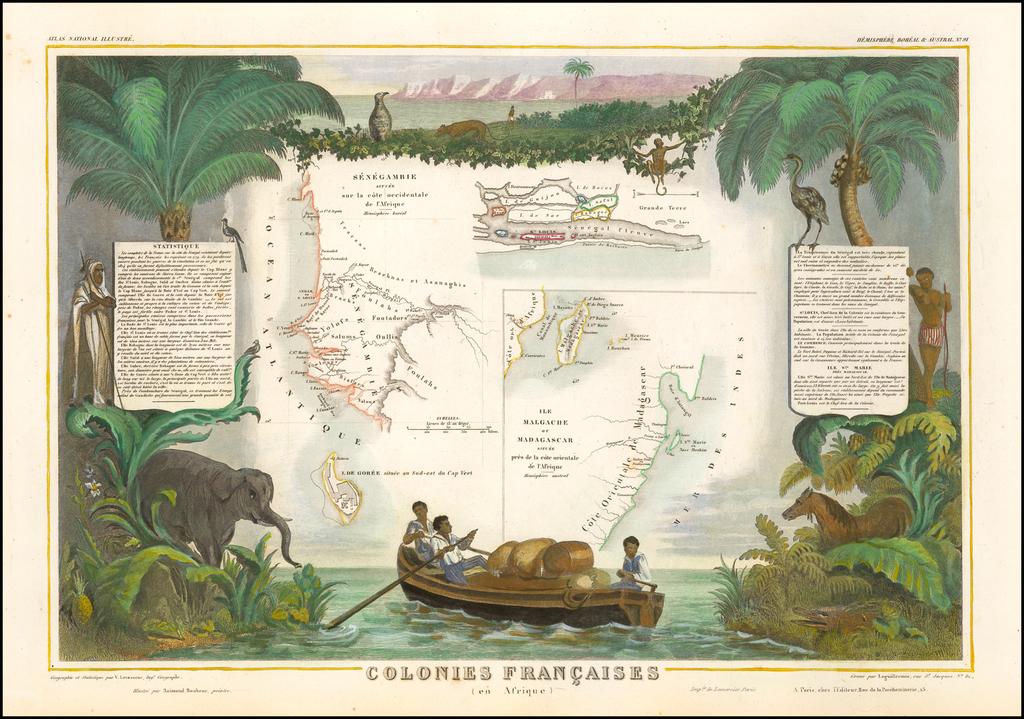 [Senegal, Isle de Goree, and Madagascar] Colonies Francaises (en Afrique) By Victor Levasseur