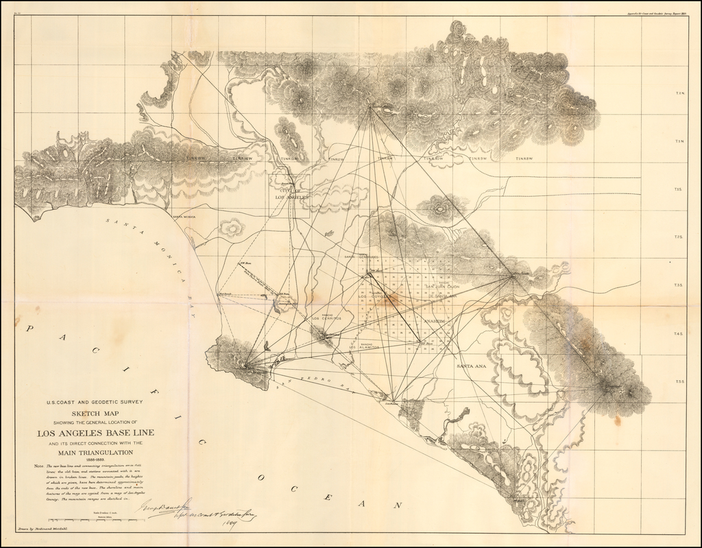 Sketch Map Showing The General Location of Los Angeles Base Line and its Direct Connection With the Main Triangulation 1888-1889 By U.S. Coast & Geodetic Survey