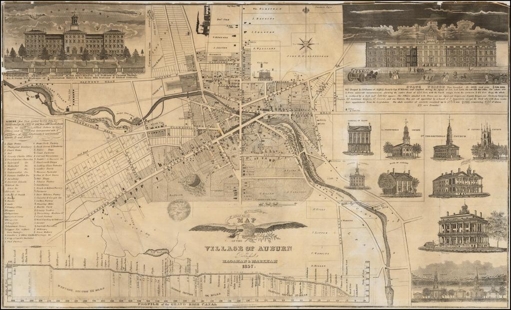 Map of the Village of Auburn Published By Hagaman & Markham 1837 By Hagaman & Markham