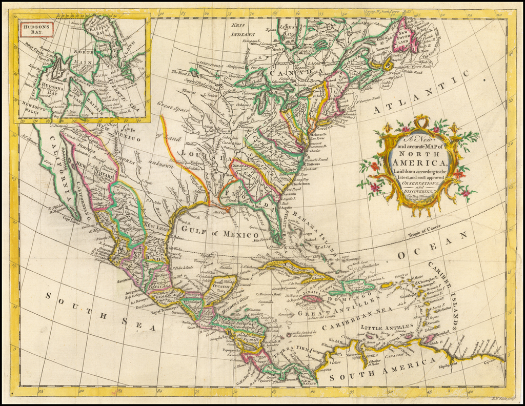 A New and Accurate Map of North America, Laid down according to the latest and Most approved Observations and Discoveries By Universal Magazine