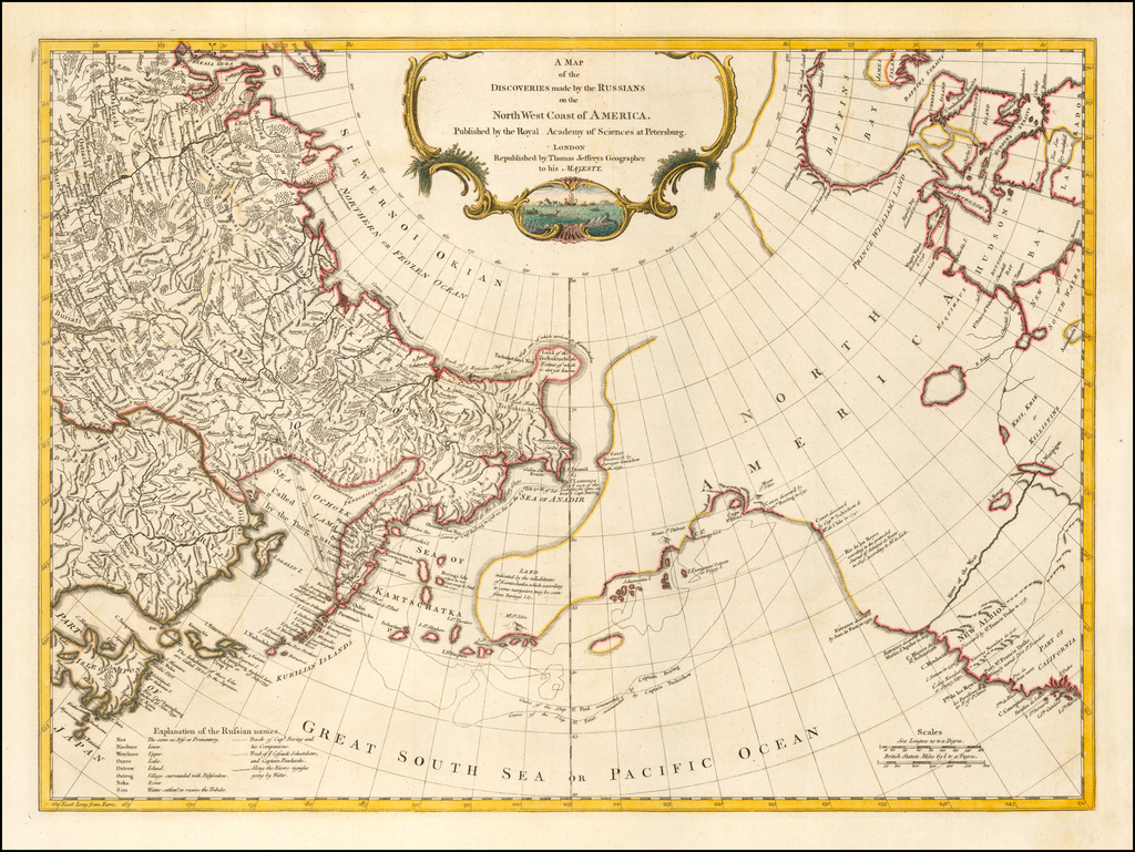 A Map of the Discoveries made by the Russians on the North West Coast of America Published by the Royal Academy of Sciences at Petersburg . . .  By Thomas Jefferys
