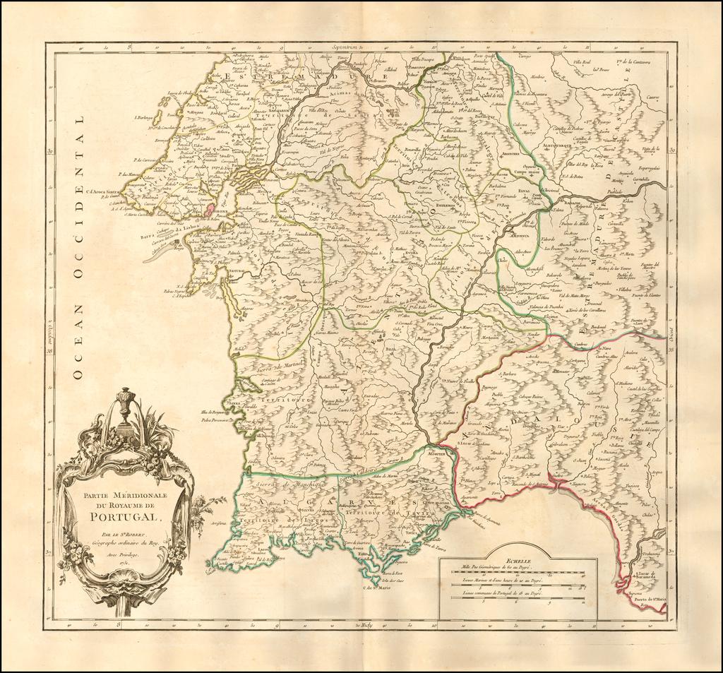 Partie Meridionale Du Royaume De Portugal . . . 1751 By Gilles Robert de Vaugondy