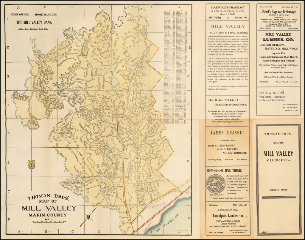 Thomas Bros. Map of Mill Valley Marin County By Thomas Brothers
