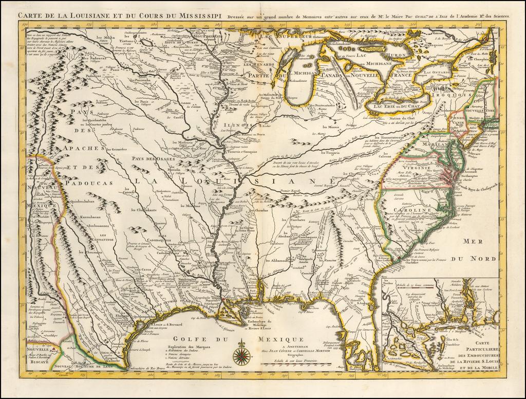 Carte De La Louisiane et du Cours du Mississipi Dressee sur