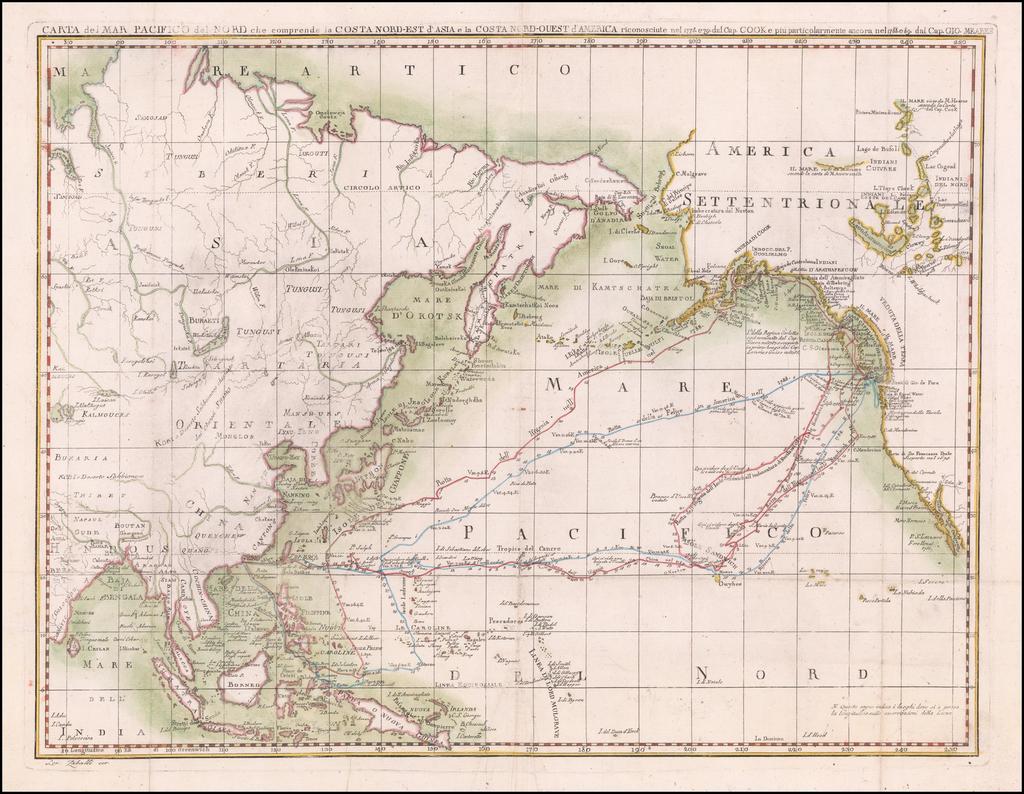 Carta Del Mar Pacifico Del Nord che comprende la Costanord-Est D'Asia e la Costanord Ouest D'America . . . 1796 By John Meares