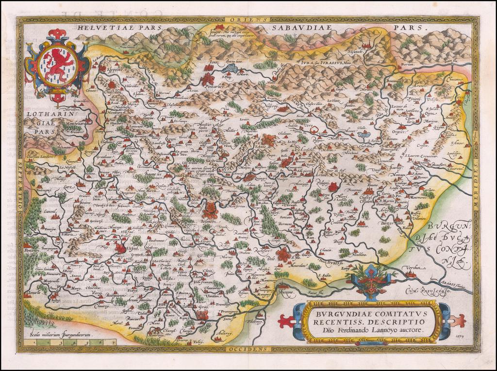 Burgundiae Comitatus Recentis Descriptio. 1579 By Abraham Ortelius