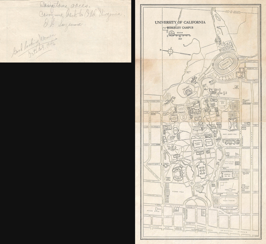 University of California Campus ( with a handwritten note on verso citing 'Good Looking Women) By Anonymous