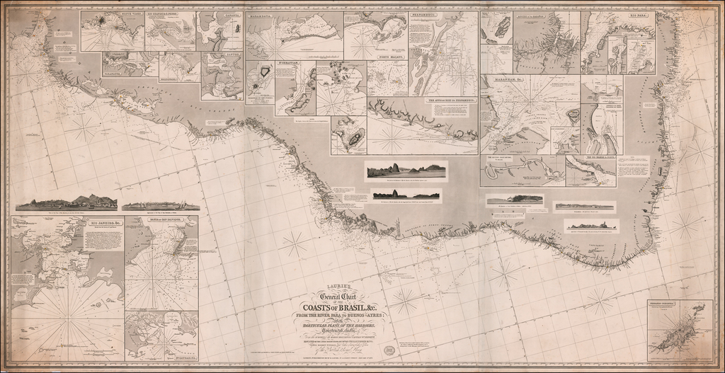 Laurie's General Chart of the Coasts of Brasil, &c. From The River Para to Buenos-Ayres; With Particular Plans of the Harbours.  Constructed chiefly From the surveys of the  Baron Roussin and Captain Wm. Hewett, Adjusted by the later observations of Captain Phillip Barker King, Captain Robert Fitzroy, and the otehr distinguished Officers of the British Royal Navy . . . 1870 By Richard Holmes Laurie