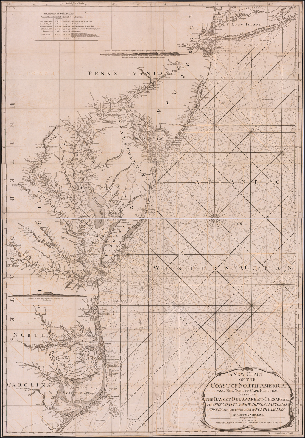 A New Chart of the Coast of North America From New York to Cape Hatteras Including the Bays of Delaware and Chesapeak, with The Coasts of New Jersey, Maryland, Virginia andPart of the Coast of North Carolina.   By Captain N. Holland.  An Improved Edition . . . 1809 By James Whittle  &  Robert Laurie