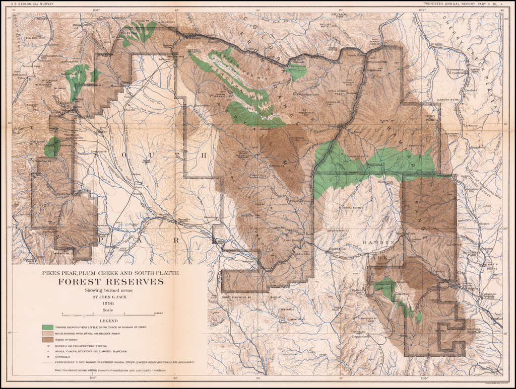 Pikes Peak, Plum Creek and South Platte Forest Reserves Showing burned areas  By John G. Jack.  1898. By U.S. Geological Survey