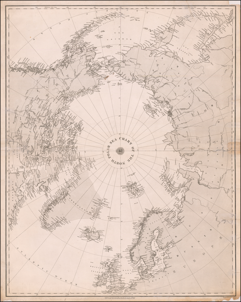 Chart of the North Polar Sea By British Admiralty