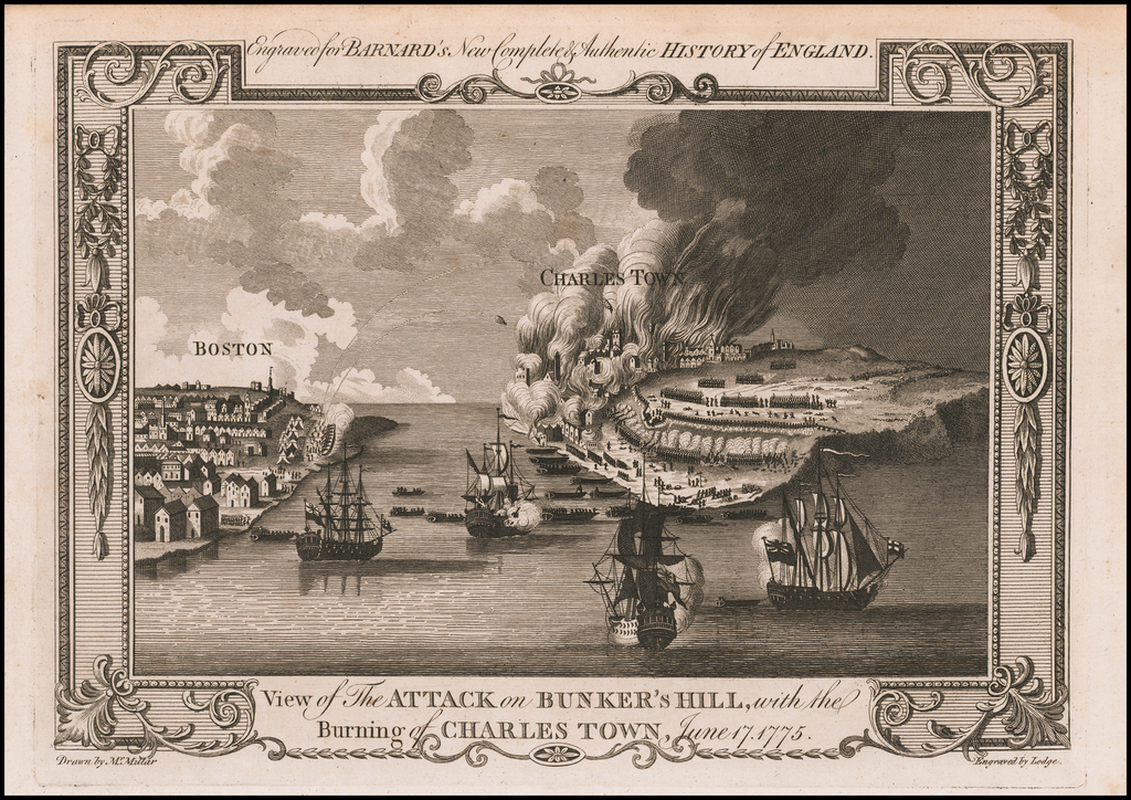 View of The Attack on Bunker's Hill, with the Burning of Charles Town, June 17, 1775 By John Lodge / Andrew Millar