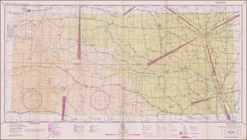 (Restricted) Sioux City . . . Sectional Aeronautical Chart  By U.S. Coast & Geodetic Survey
