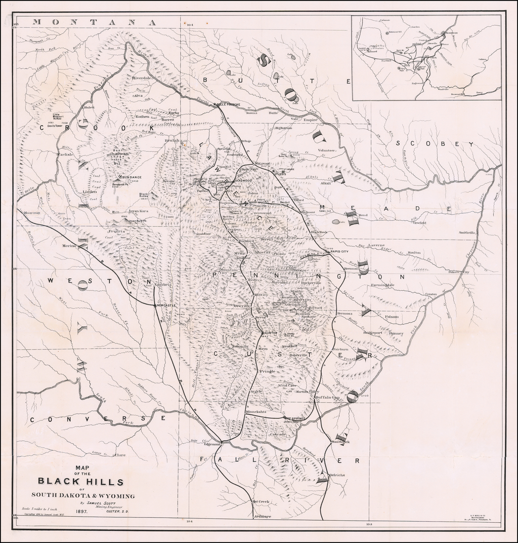 Map of the Black Hills of South Dakota and Wyoming (with pamphlet) By Samuel Scott