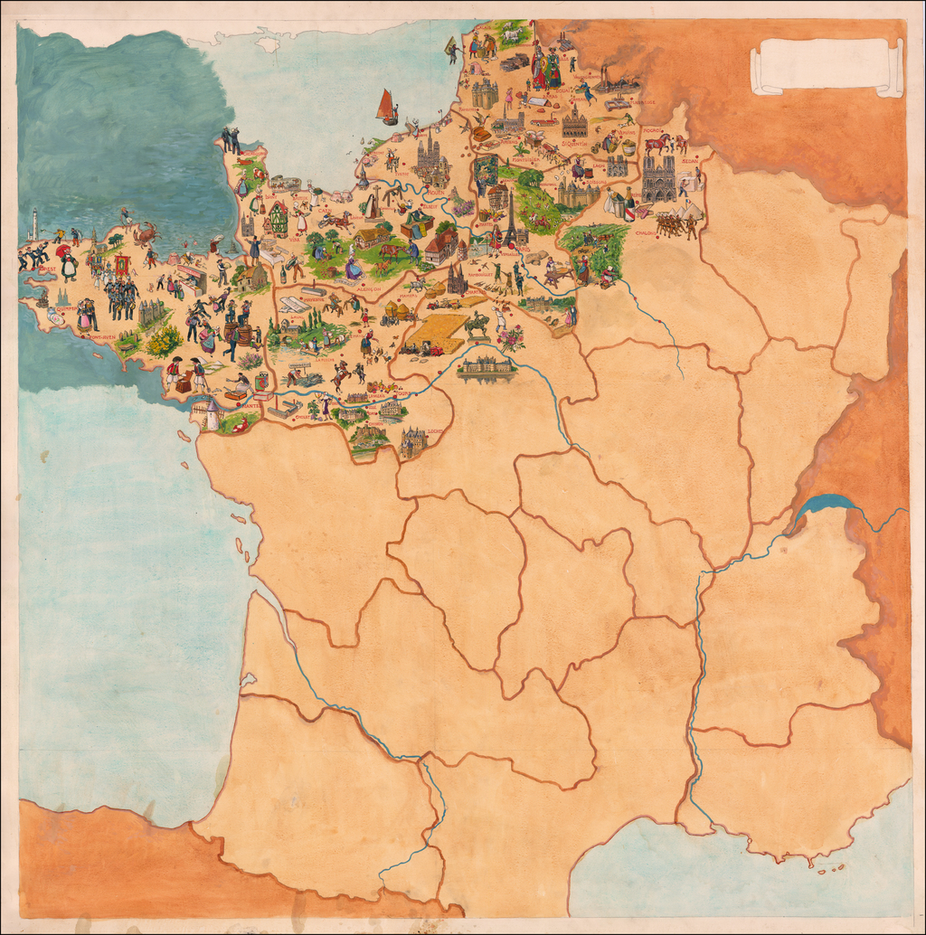France Map By Joseph Porphyre Pinchon