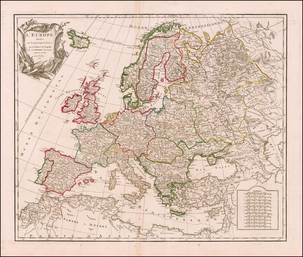 L'Europe divisee en ses principaux Etats . . . 1751 By Didier Robert de Vaugondy