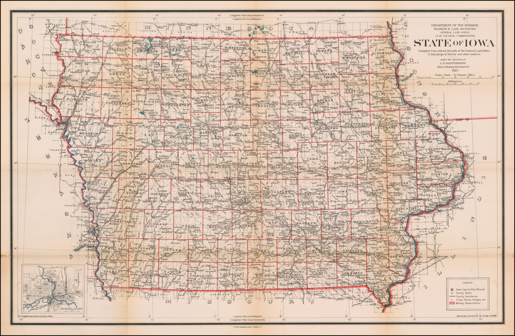 State of Iowa. Compiled from the official Records of the General Land Office . . . 1917 By U.S. General Land Office
