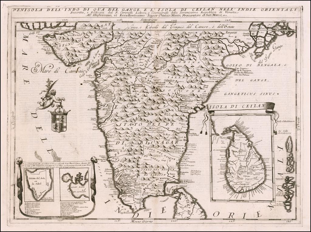 Penisola Dell'Indo Di Qua Del Gange E L'Isola Di Ceilan Nell'Indie Orientali . . .  By Vincenzo Maria Coronelli
