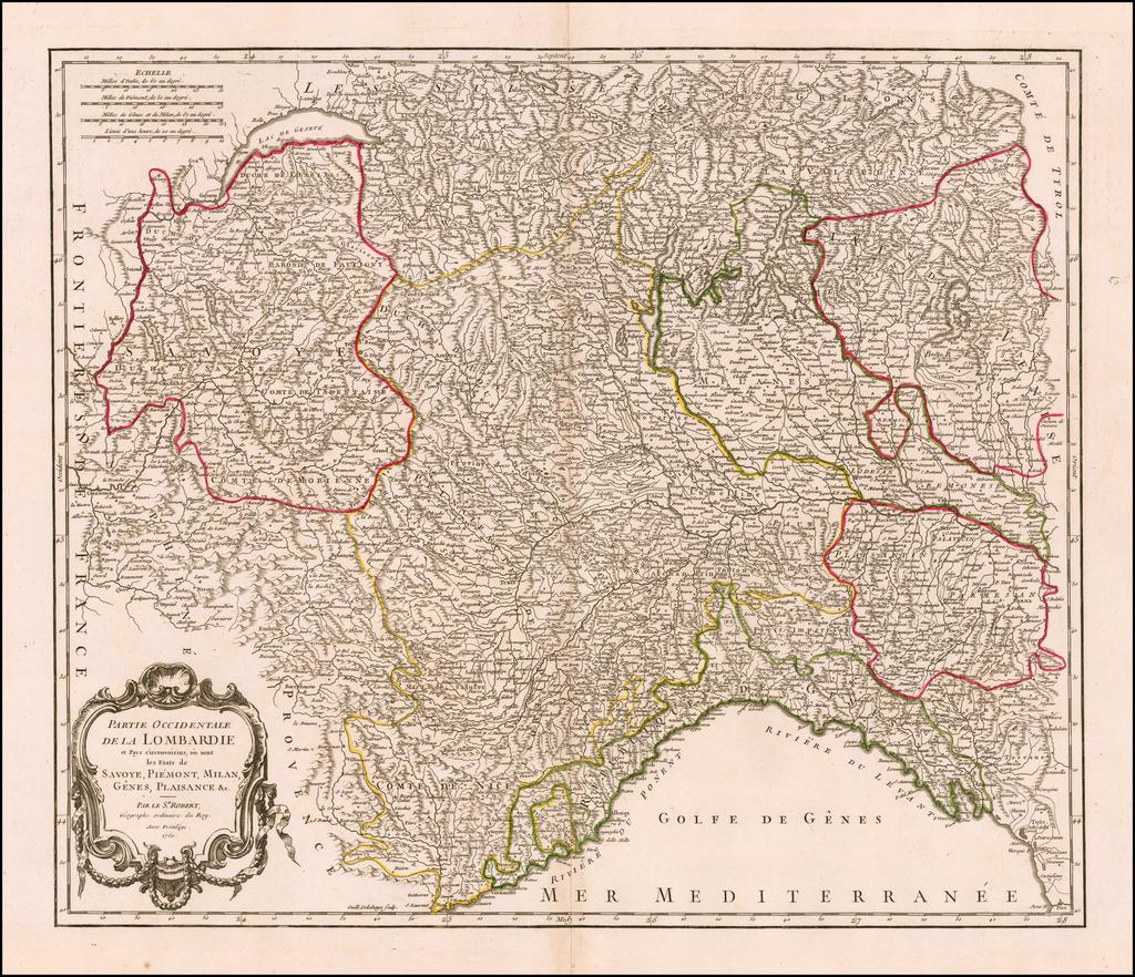 Partie Occidentale De La Lombardie et Pays circonvoisins ou sont les Etats de Savoye, Piemont, Milan, Genes, Plaisance &c. . . . 1750 By Gilles Robert de Vaugondy