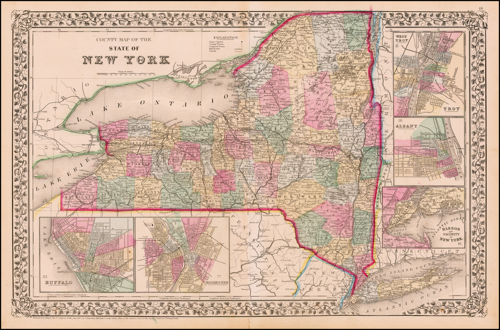 County Map of the State of New York By Samuel Augustus Mitchell Jr.