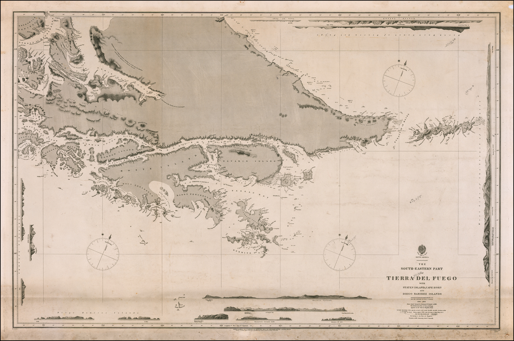 The South-Eastern Part of Tierra Del Fuego with Staten Island, Cape Horn and Diego Ramirez Islands Surveyed By Captn. Robert Fitz Roy R.N. and The Officers of H.M.S.  Beagle 1836 By British Admiralty
