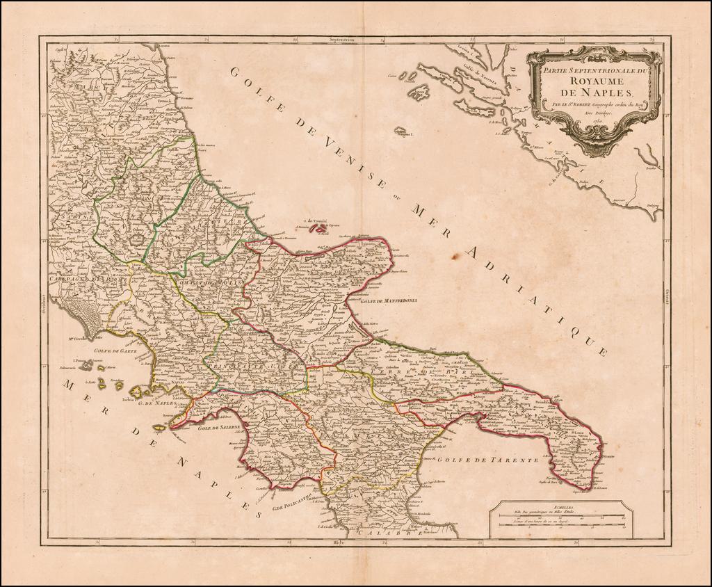 Partie Septentrionale Du Royaume De Naples . . . 1750 By Didier Robert de Vaugondy