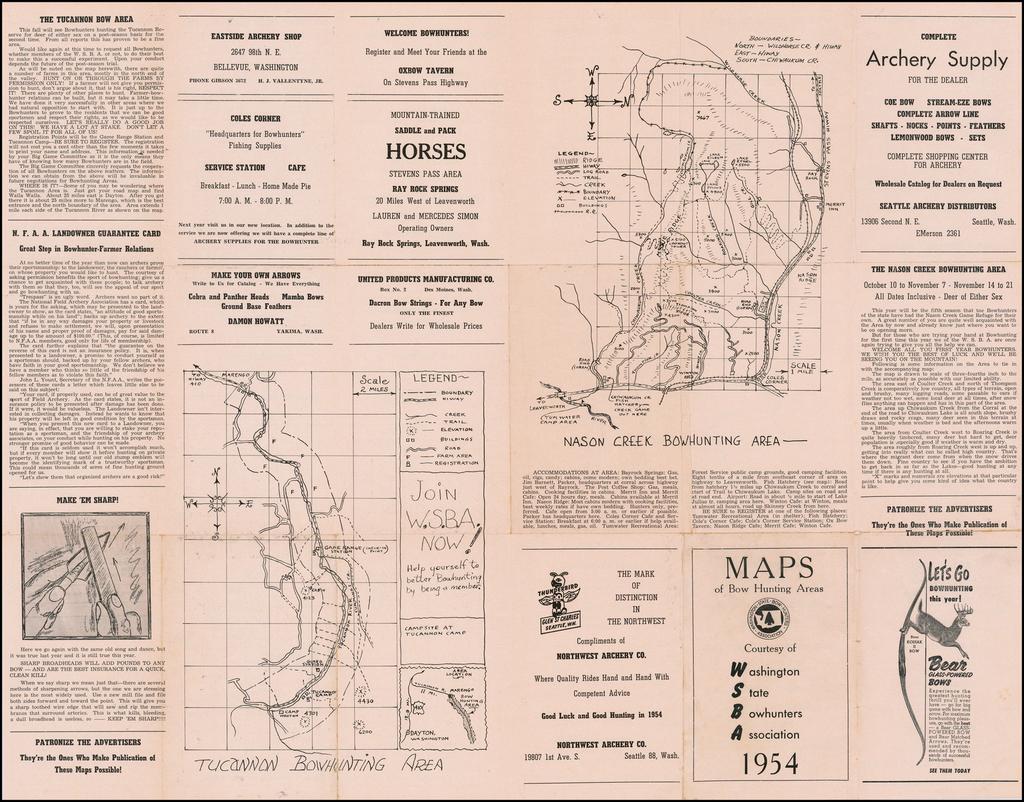 Map of Bow Hunting Areas Courtesy of Washington State Bowhunters Association 1954 By Washington State Bowhunters Association
