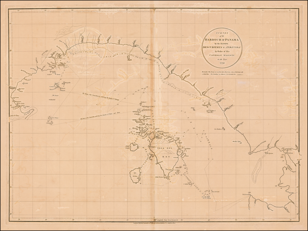 Survey of the Harbour of Panama by the Sloops Descubierta & Atrevida by Order of His Catholic Majesty in the Year 1791. By Aaron Arrowsmith