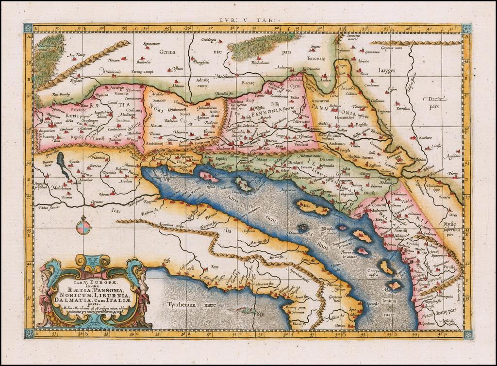Tab V. Europae in qua Raetia, Pannonia, Noricum, Liburnia, Dalmatia, Cum Italiae Parte . . .  By  Gerard Mercator