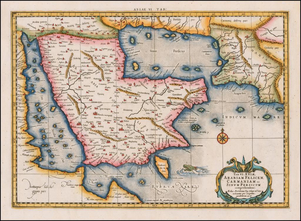 Tab. VI. Asiae, Arabiam Felicem, Carmaniam ac Sinum Persicum By  Gerard Mercator