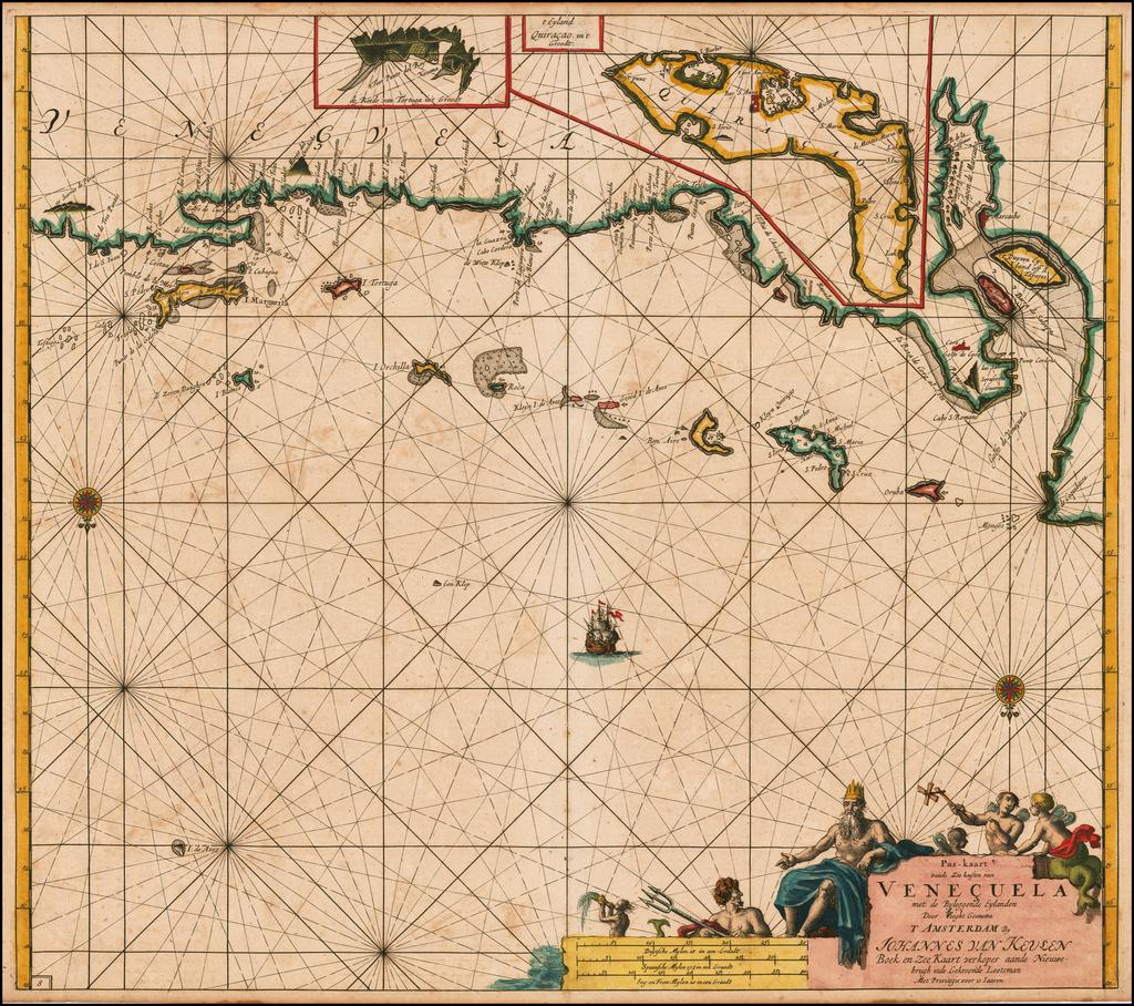 [Curacao] Pas-kaart vande zee custen van Venecuela met dye Bylegende Eylanden  . . . By Johannes Van Keulen
