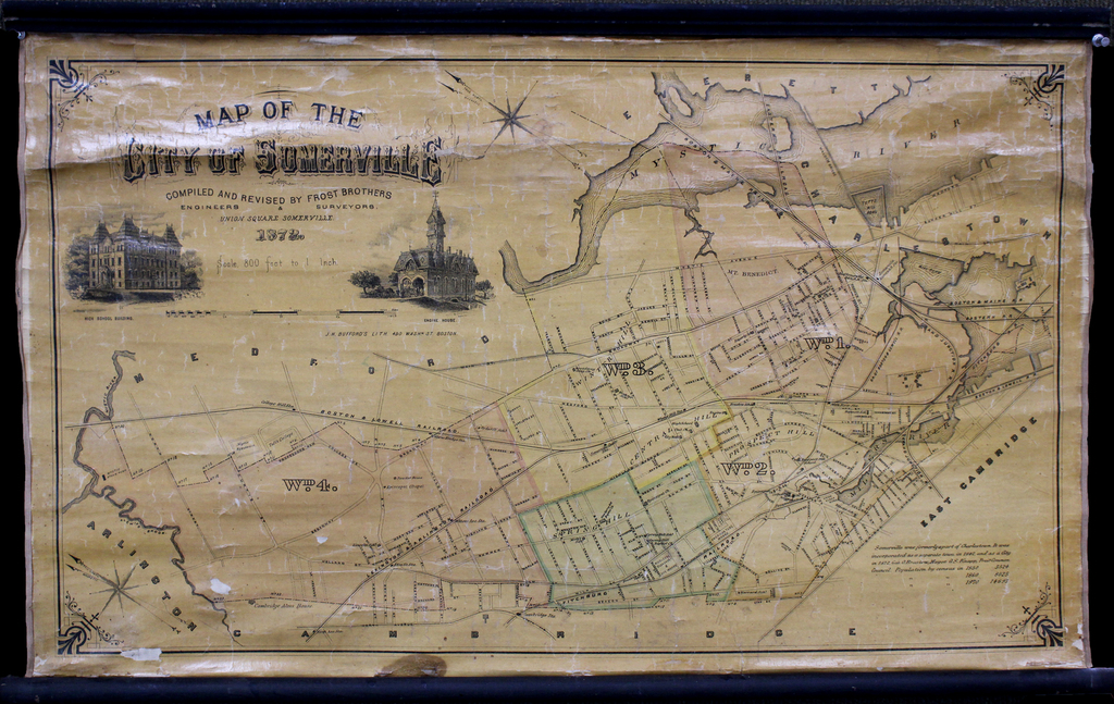 Map of the City of Somerville Compiled and Revised by Frost Brothers Engineers & Surveyors, Union Square Somerville 1872. By J.H. Bufford's Lith.