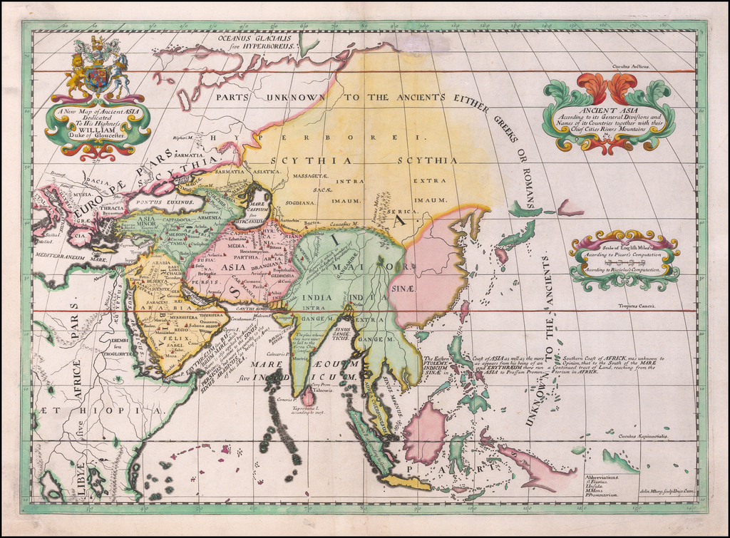 A New Map of Ancient Asia Dedicated to his Highess William Duke of Glocester By Edward Wells